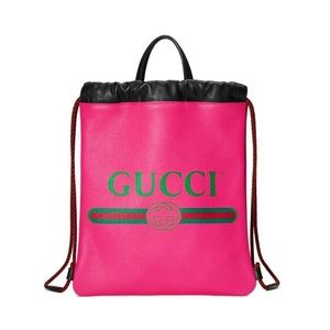 GUCCI Pink Leather Drawstring Backpack/Tote NWOT